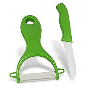 "YOFAN Ceramic Chef's Knife & Peeler Set , 3inch Blade Knife , ""Y"" Ceramic Peeler , No Need Sharpening - Green"