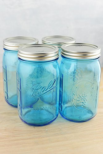 Richland Mason Jars Blue Wide Mouth Quart Set of 4