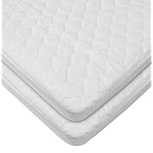 American Baby Company 2 Pack Waterproof Fitted Quilted Cotton Portable Mini Crib Mattress Pad Cover, White, for Boys and Girls