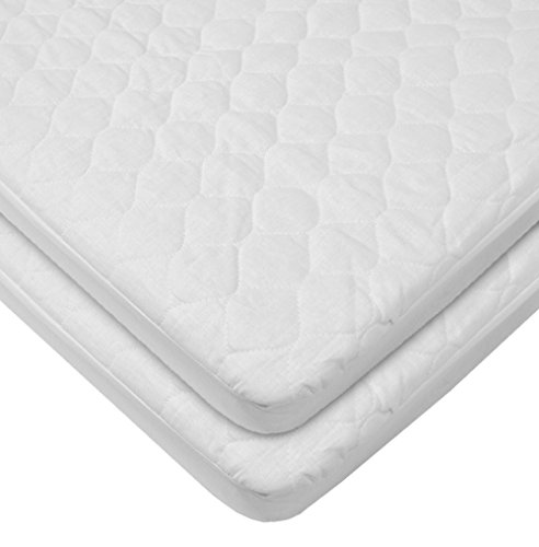 (American Baby Company Waterproof Fitted Quilted Portable Mini Crib Mattress Pad Cover 2 Count, White, for Boys and Girls)