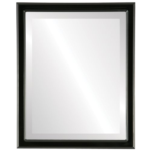 Decorative Mirror for Wall | Framed Rectangle Beveled Wall Mirror | Toronto Style - Gloss Black - 20x26 outside dimensions (Above Store Toronto 1 Bedroom)