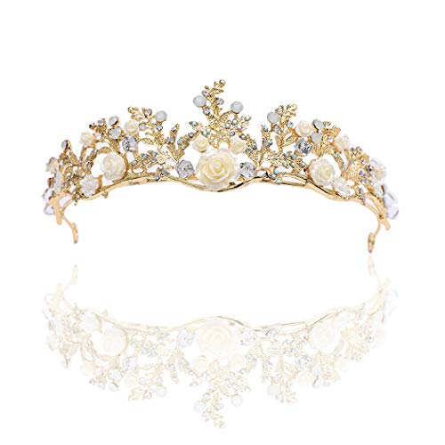 (Campsis Floral Wedding Crown Baroque Beaded Bride Headband Bead Bridal Hair Accessories for Women and Girls)