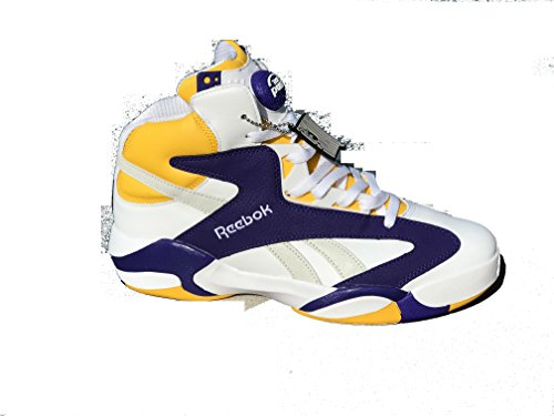 Reebok Shaq Attaq X Politics White/Steel/Purple/Yellow Basketball Shoes xkBnFO4KU