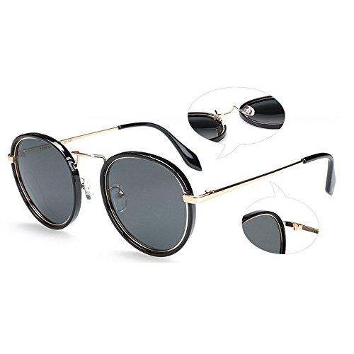 métal en soleil hommes lunettes Élégant air rond Rose Uv400 Mme protection polarisé et en de cadre plein qE4w1t