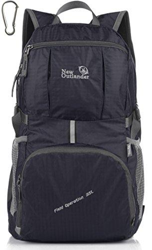 LARGE35L! Outlander Packable Lightweight Travel Hiking Backpack Daypack (New Black)