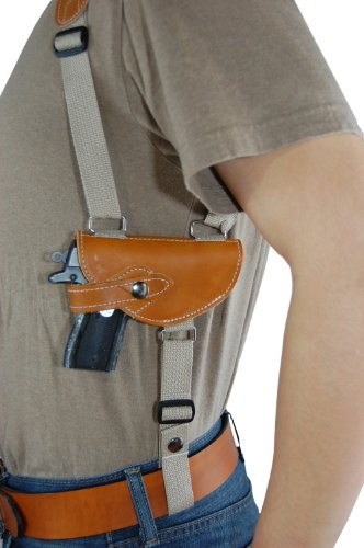 Barsony Saddle Tan Leather Shoulder Holster for Mini-Pocket 22 25 .380 Pistols by Barsony Holsters and Belts