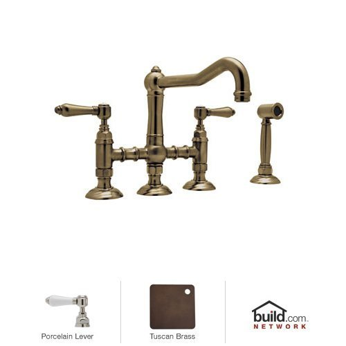Rohl A1458LPWSTCB-2 Ls3550Pn Three Leg Bridge Faucet with Porcelain Levers Handle, Tuscan ()