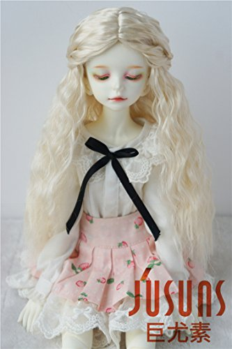 JD119 7-8inch 18-20CM Long curly princess doll wigs 1/4 MSD synthetic mohair BJD wigs Vinyl doll accessories - Mohair Blonde