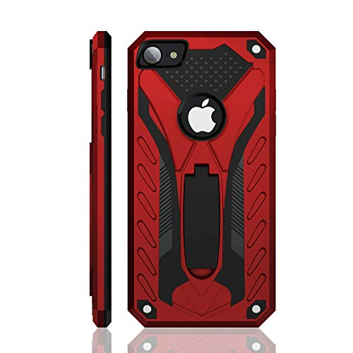 iPhone 7 Case | iPhone 8 Case | Military Grade | 12ft. Drop Tested Protective Case | Kickstand | Wireless Charging | Compatible with Apple iPhone 7 / iPhone 8 - Red