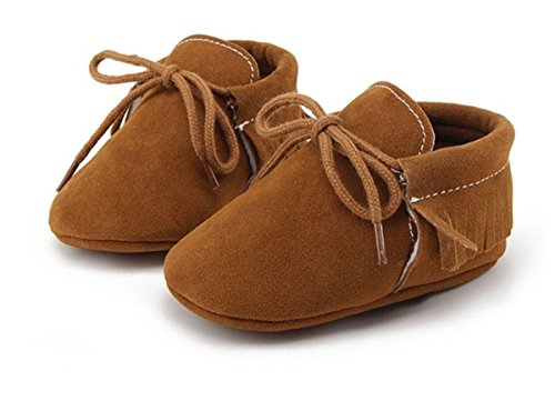 BININBOX Baby Boys Girls First Walkers Tassel Soft Non-slip Crib Shoes Sandal Unisex Infant Prewalker Toddler Shoelaces (11cm(0-6months), Dark brown) Flannelette Crib