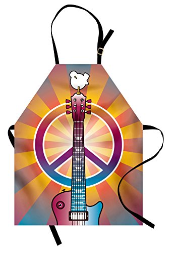 Woodstock Themed Costumes (Retro Apron by Ambesonne, Colorful Guitar and Peace Symbol and Dove Dedicated to the Woodstock Artsy Tribute, Unisex Kitchen Bib Apron with Adjustable Neck for Cooking Baking Gardening, Multicolor)