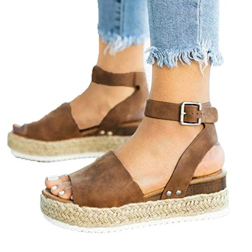 Casual Feet - Meigeanfnag Casual Women's Studded Wedge Buckle Ankle Platform Sandals Espadrille Sandals (Brown,41)