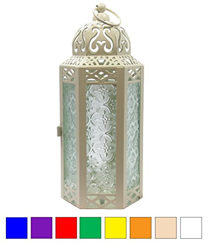 Vela Lanterns Mid-Size Table/Hanging Glass Hexagon Moroccan Candle Lantern Holders - Light Cream -