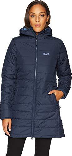 Jack Wolfskin Women's Maryland Windproof Insulated Long Jacket, Midnight Blue, Large -