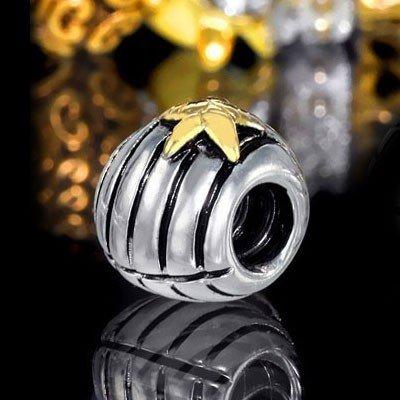 Materia Beads Perle pour collier Coquillage avec élément European Beads en or motif étoile 8/10mm Argent Sterling925 plaqué or 14K