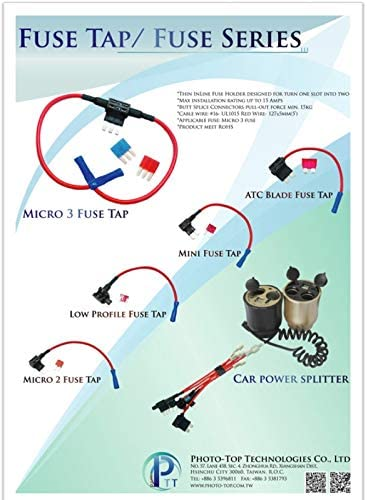 Adapter Fuse Holder for Automotive Replacement. PHOTO-TOP 5X Add-A-Circuit Car Fuse tap for ATO//ATP//ATC type
