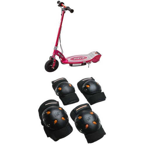 Razor E100 Electric Scooter (Pink) and Mongoose BMX Bike Gel Knee and Elbow Pads by Razor