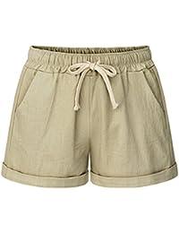 Women's Elastic Waist Cotton Linen Casual Beach Shorts...