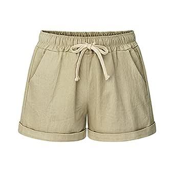 Women's Drawstring Elastic Waist Casual Comfy Cotton Linen Beach Shorts Khaki Tag M-US 2