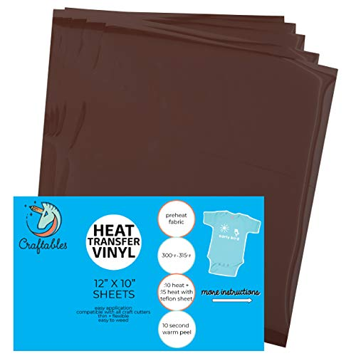 Craftables Brown Heat Transfer Vinyl HTV - 5 Sheets Easy to Weed Tshirt Iron on Vinyl for Silhouette Cameo, Cricut, All Craft Cutters. Ships Flat, Guaranteed Size