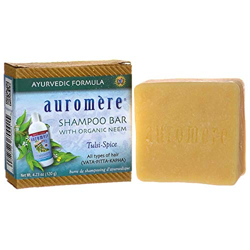 Ayurvedic Shampoo Bar by Auromere - Can be Used for Both Face & Body - All Natural Unique Formula for Natural Cleansing, Nourishing and Rejuvenating Properties for the Hair and Scalp - 4.23 oz ()
