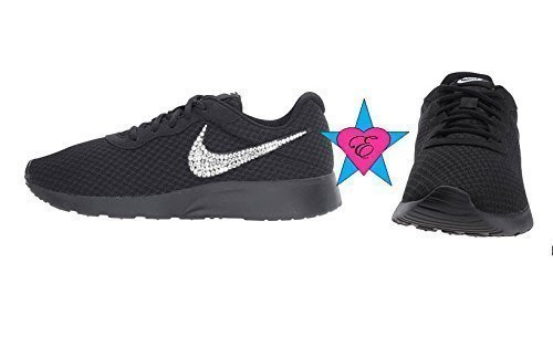 Black Sole Glitter Sneakers Bling Nike Tanjun Shoes by Eshays