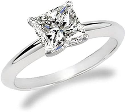 1 Carat Princess Cut Diamond Solitaire Engagement Ring 14k White Gold K I2 1 C T W Very Good Cut Amazon Com