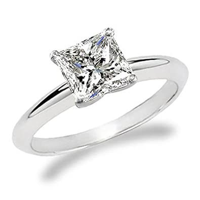 9141b2a4c 1 Carat Princess Cut Diamond Solitaire Engagement Ring 14K White Gold (K,  I2,