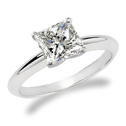 - 1 Carat Princess Cut Diamond Solitaire Engagement Ring 14K White Gold (K, I2, 1 c.t.w) Very Good Cut