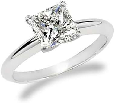1 1/2 Carat Princess Cut Diamond Solitaire Engagement Ring 14K White Gold (J, VS1-VS2, 1.5 c.t.w) Ideal Cut