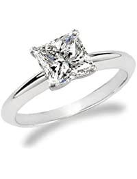 1 Carat Princess Cut Diamond Solitaire Engagement Ring 14K White Gold (K, I2, 1 c.t.w) Very Good Cut