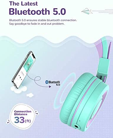iClever BTH02 Kids Headphones, Kids Wireless Headphones with MIC, 22H Playtime, Bluetooth 5.0 & Stereo Sound, Foldable, Adjustable Headband, Childrens Headphones for iPad Tablet Home School, Green