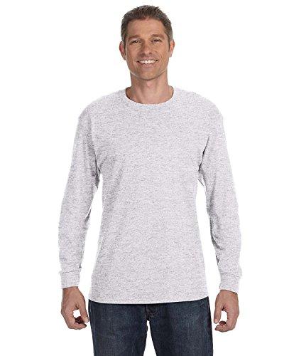 Hanes TAGLESS 6.1 Long Sleeve T-Shirt, S-Light - T-shirt Cotton Gray S/s