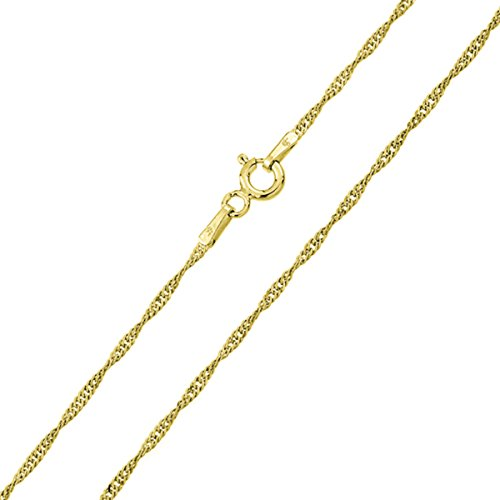 Sterling Silver Italian Chain Necklace 1mm 14K Gold Plated Singapore Chain ( 16