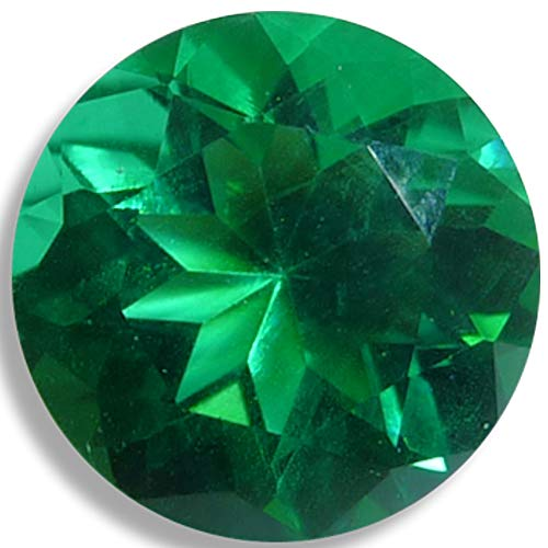 Lab Helenite Emerald Green Round Brilliant Loose Unset Gem (6mm)