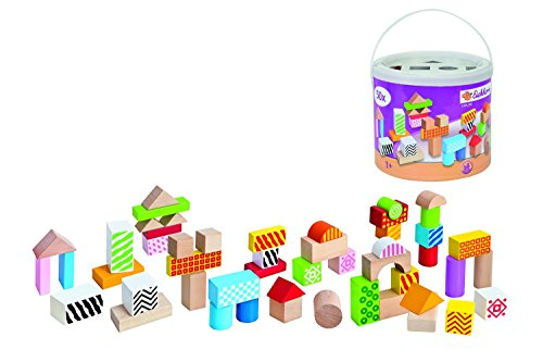 Eichhorn 100002226 -Color Holzbausteine, 50-teilig, bunt, 50 bunt bedruckte Holzbausteine in Trommel zur Aufbewahrung