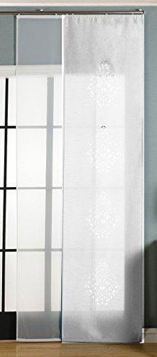 2er-Pack Schiebegardine Flächenvorhang Nantes Lasercut Wildseide Optik Voile , Weiß, 245x60 cm (HxB) inkl. Paneelwagen und Beschwerungsstangen, 165650