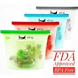 Reusable 4-PACK Silicone Food-Storage Bags with 6 Silicone Stretch Lids- Airtight Zip Seal Colored Containers Keep Food Cold or Hot- Baby Food Prep or Sous Vide - FDA Grade (blue, red, green, white)