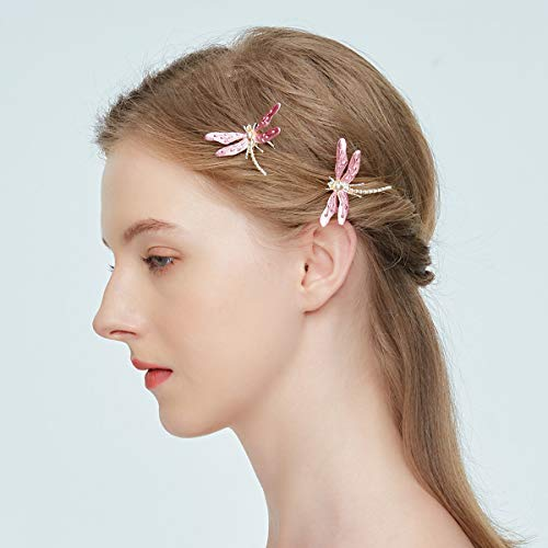 (ElekFX Hair Clip Beauty Hair Pin Dragonfly Design Headband for Women and Girls - Pink【2)