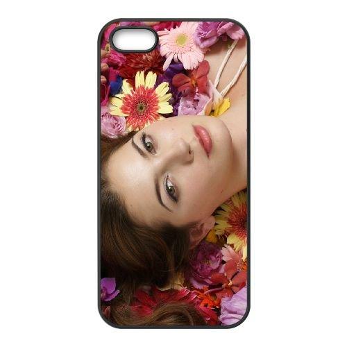 Girl Brunette Flowers Face Lie Down Mood Make Up 24858 coque iPhone 4 4S cellulaire cas coque de téléphone cas téléphone cellulaire noir couvercle EEEXLKNBC25302