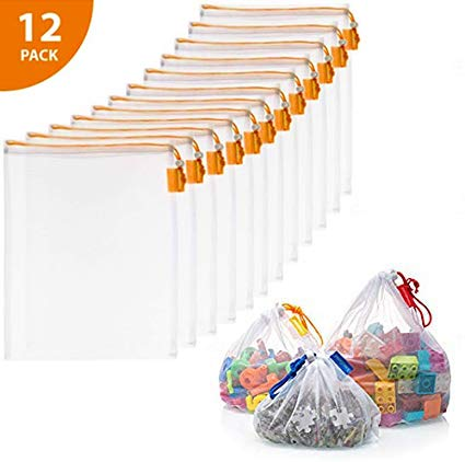 "B07TCCVCY4 VANDOONA Toy Storage & Organization Mesh Bags Set of 12 See-Through Washable Mesh Bags & Color Coded Drawstrings. Playroom Organization, Baby Toys, Game Pieces, Toy Sets, Bathtub Toys. Size 12"" x 14"" 41DEZ7mfSfL"