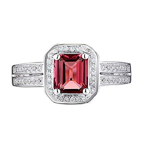 (Beyond jewelry Emerald Cut Tourmaline Diamond Solid 14K White Gold Engagement Ring)