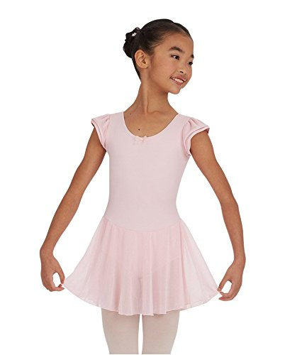 Capezio Big Girls' Flutter-Sleve Dress Leotard,Pink,Intermediate (6-8)