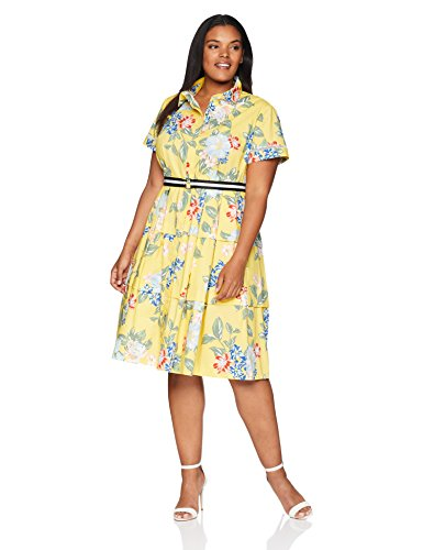 Donna-Morgan-Womens-Plus-Size-Printed-Midi-Length-Shirt-Dress