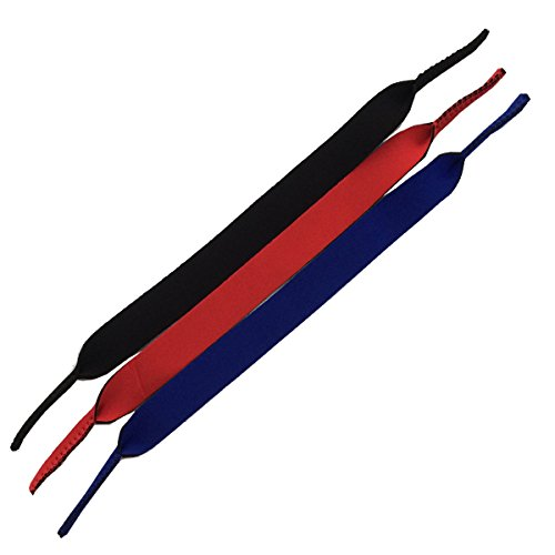 AlleTechPlus Eyewear Retainer, Floating Neoprene Sunglass and Glasses Holder Straps (Black+Navy+Red) by AlleTechPlus