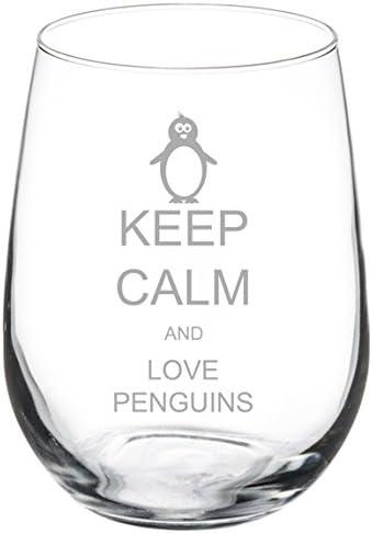 17 Oz Stemless Wine Glass Goblet Funny Penguin Chillin Dining Entertaining Novelty