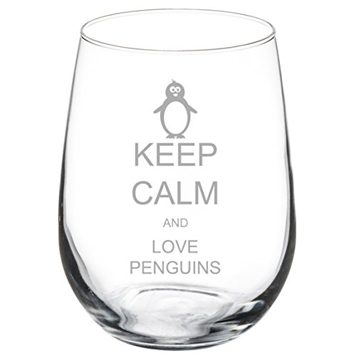 Wine Glass Goblet Keep Calm and Love Penguins (17 oz Stemless)]()