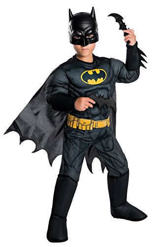 Rubie's Costume Boys DC Comics Deluxe Batman Costume, Medium, (Batman & Robin Costumes)