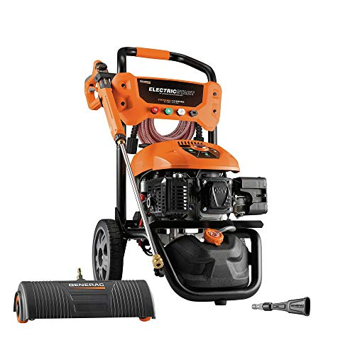 Generac Gas Pressure Washer Kit 3100 PSI 2.5 GPM Lithium-Ion Electric Start with PowerDial Spray Gun, 30' Ultra Flex Hose and 4 Nozzles - Includes Power Broom & Soap Blaster from Generac