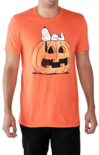 Peanuts Mens T-Shirt Snoopy Halloween Pumpkin Print Orange (2XL)